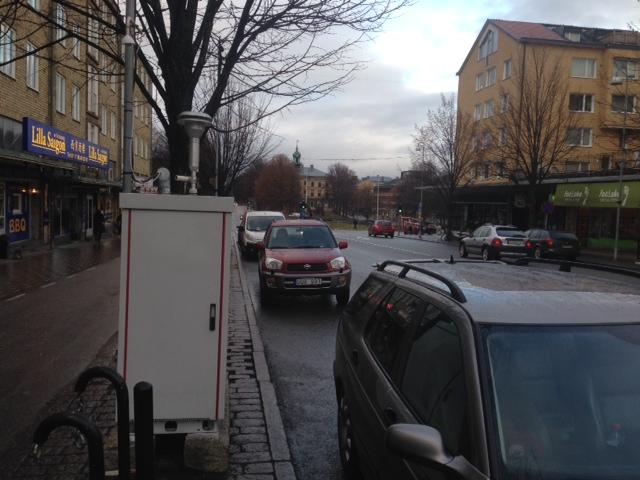Den nya mätstationen på Södra Kungsgatan i Gävle.