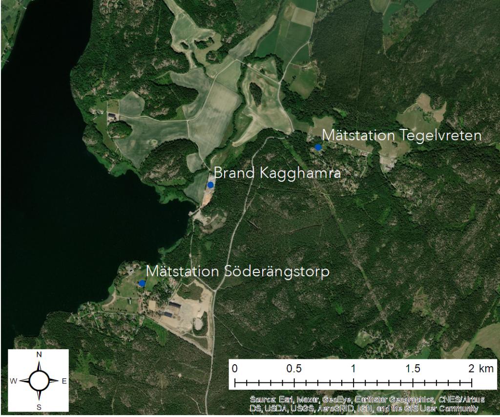 Karta över branden i Kagghamra och de två mätstationerna vid Söderängstorp och Tegelvreten